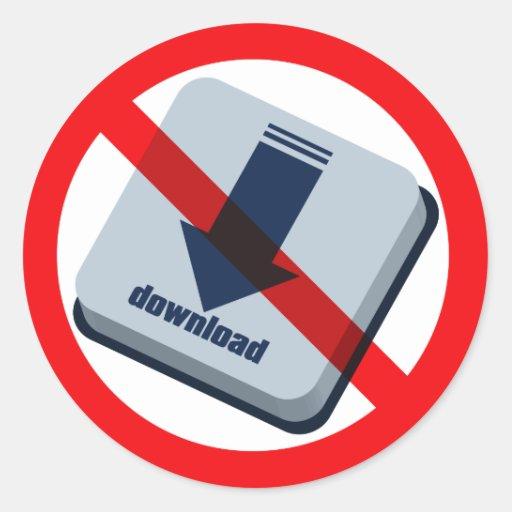 NO_download Classic Round Sticker
