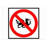 No Dragons Highway Sign Postcard