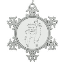 No Drama for this llama Snowflake Pewter Christmas Ornament