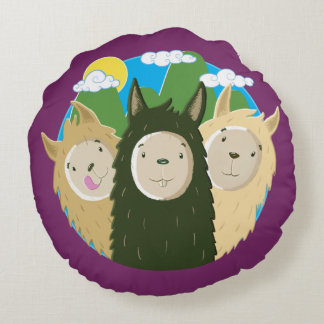 No Drama Llamas Brothers Round Pillow