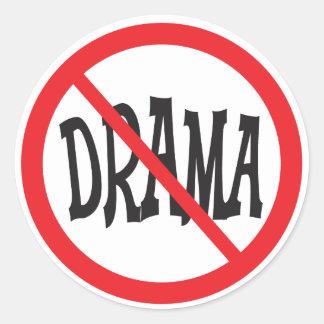 No Drama warning sign Classic Round Sticker
