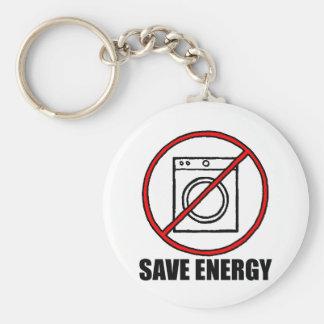 No Dryers SAVE ENERGY Basic Round Button Keychain