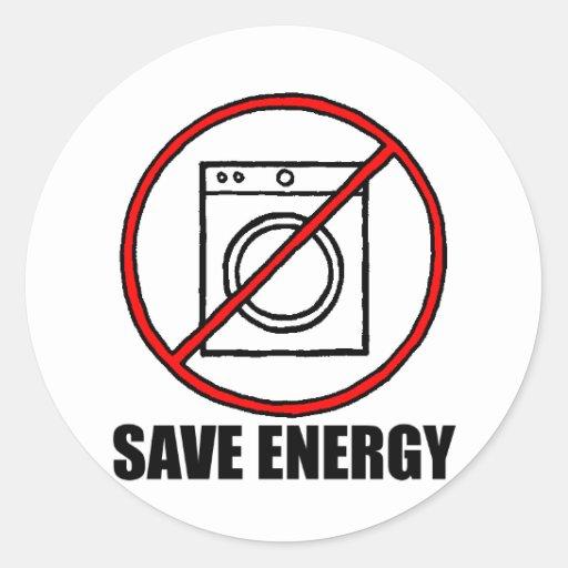 No Dryers SAVE ENERGY Classic Round Sticker