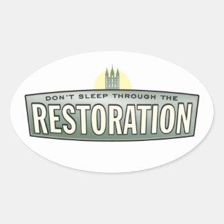No duerma con la restauración. Etiquetas engomadas Calcomanías Ovales Personalizadas