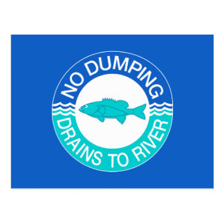 No Dumping Drains To River, Sign, New Jersey, US Postcard