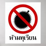 NO Durian ⚠ Thai Language Script Sign ⚠ Poster