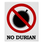 NO Durian Tropical Fruit Sign