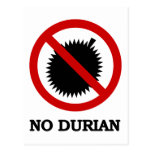 NO Durian Tropical Fruit Sign Post Cards