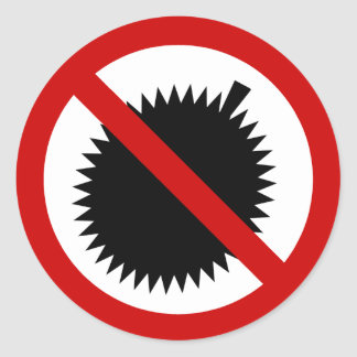 NO Durian Tropical Fruit ⚠ Thai Sign ⚠ Classic Round Sticker