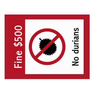 No Durians (2) Sign, Singapore Postcard