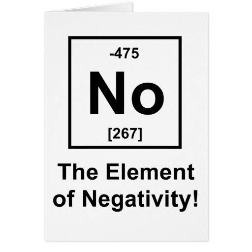 No, el elemento de la negatividad tarjeton