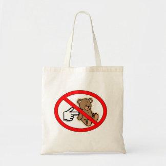 No empuje el tote del oso bolsa tela barata