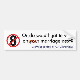 no en 8, o todos conseguimos votar sobre su boda pegatina para auto
