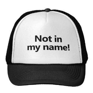¡No en mi nombre! Gorras De Camionero