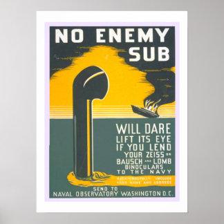 No Enemy  Sub Vintage WW2 Navy Military Poster