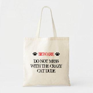 No ensucie con el tipo loco del gato bolsa tela barata