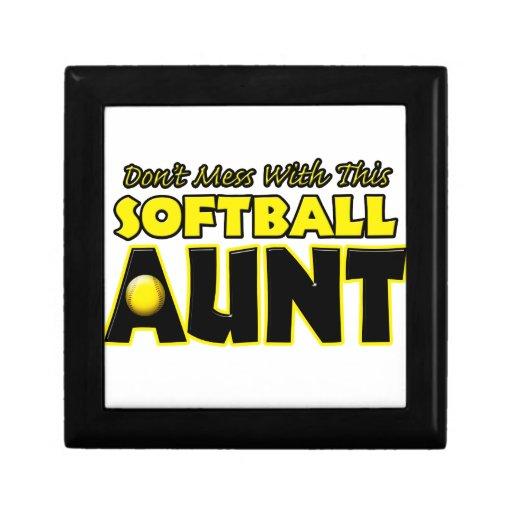 No ensucie con este softball Aunt.png Joyero Cuadrado Pequeño