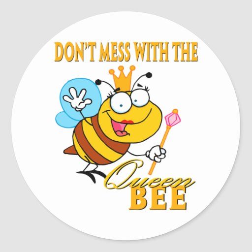no ensucie con la abeja reina pegatinas redondas
