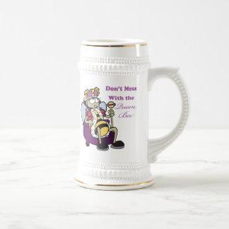 no ensucie con la abeja reina jarra de cerveza
