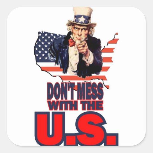 No ensucie con los E.E.U.U. Pegatina Cuadrada