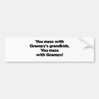 No ensucie con los Grandkids de Grampy Pegatina De Parachoque