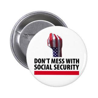 No ensucie con Seguridad Social Pin Redondo De 2 Pulgadas