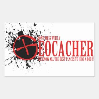 No ensucie con un Geocacher Pegatina Rectangular