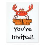 no ensucie conmigo el cangrejo malo invitación 10,8 x 13,9 cm