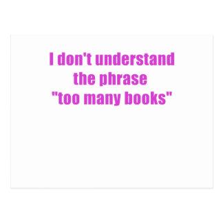 No entiendo la frase demasiados libros postal