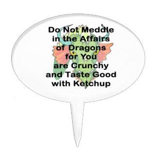 No entrometerse la cabeza negra del dragón decoraciones para tartas
