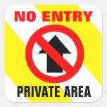 No Entry Private Area Sign Square Sticker