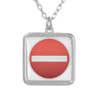 No entry road sign square pendant necklace