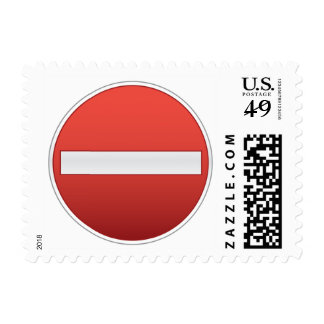 No entry road sign postage stamp