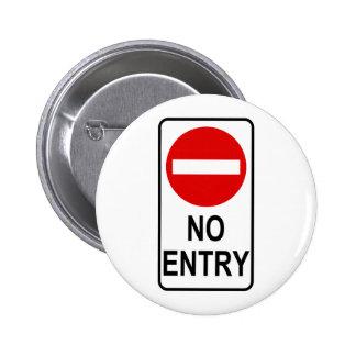 No Entry Road Sign Traffic Cartoon Graphic Design 2 Inch Round Button