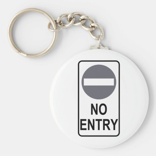 No Entry Road Sign Traffic Cartoon Graphic Design Keychains