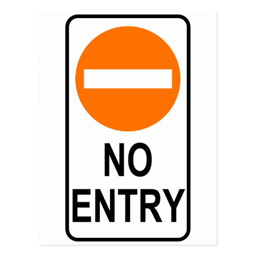 No Entry Road Sign Traffic Cartoon Graphic Design Postcards
