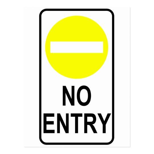 No Entry Road Sign Traffic Cartoon Graphic Design Postcard