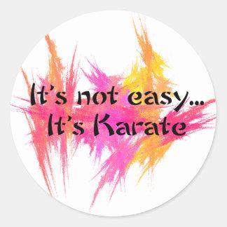 No es fácil - karate (el rosa) etiquetas redondas