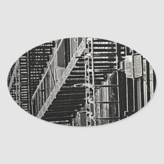 No Escape Grunge Urban Oval Sticker