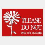 no escoja las flores (blancos y azules rojos) señal