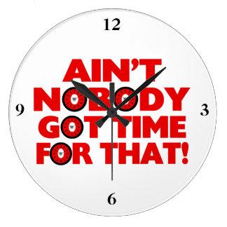 No está nadie hora conseguida para eso divertido reloj redondo grande