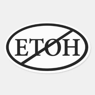 No ETOH Oval Sticker
