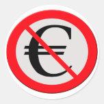 No Euro Pegatina Redonda