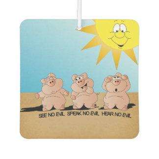 No Evil Cute Cartoon Pigs Car Air Freshener