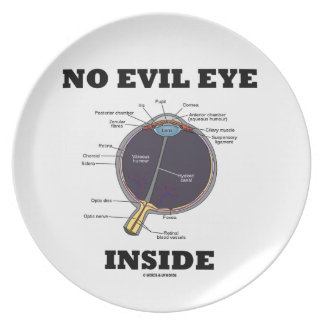 No Evil Eye Inside (Anatomical Eyeball Humor) Dinner Plate