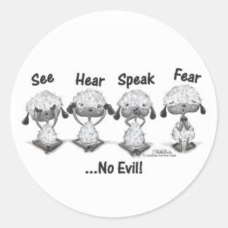 No Evil Lambs Round Stickers
