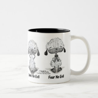 No Evil Lambs Two-Tone Coffee Mug
