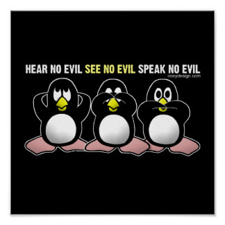 No Evil Penguins Design Poster