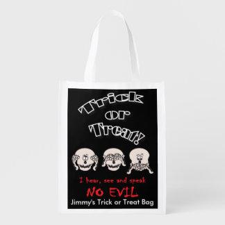 No Evil Skelton Heads | Halloween Trick or Treat Reusable Grocery Bag
