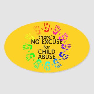 No Excuse for Child Abuse Oval Sticker